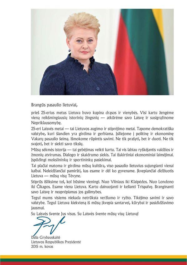 prezidentes kovo 11 sveikinimas