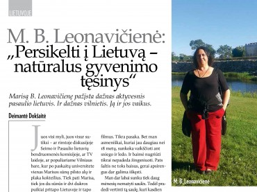 """M. B. Leonavičienė: """"Persikelti į Lietuvą – natūralus gyvenimo tęsinys"""""""