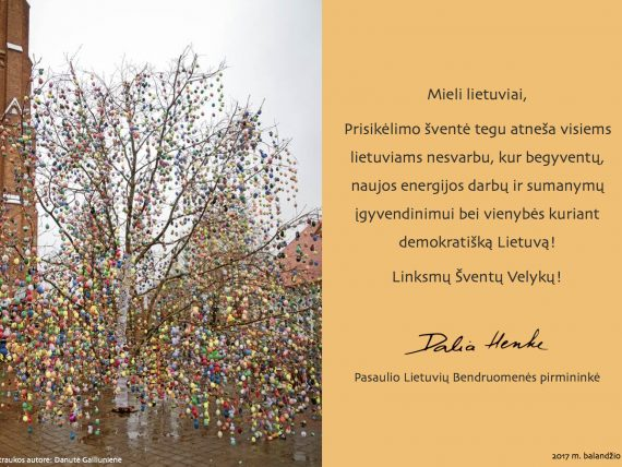 Nuoširdūs sveikinimai pasaulio lietuviams šv. Velykų proga