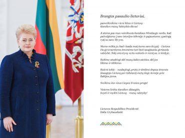 Prezidentė sveikina pasaulio lietuvius Valstybės dienos proga