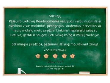 Pasaulio Lietuvių Bendruomenės valdybos sveikinimas rugsėjo 1-osios proga